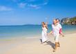 Family Running Beach Clear Sky Summer Concept