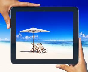 Digital Tablet Frame at Tropical Beach
