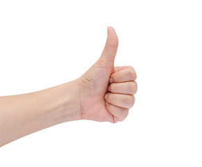 Female hand showing thumbs up sign against white background
