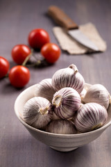 Chinese solo garlic on wooden background