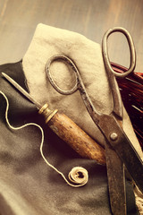 Old scissors and awl