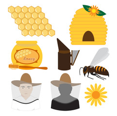 beekeeping set vector illustration