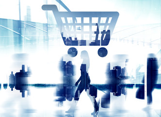 Home Finance Shopping Cart Cityscape Retail Store Concept