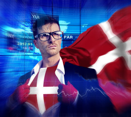 Businessman Superhero Country Denmark Flag Culture Power Concept