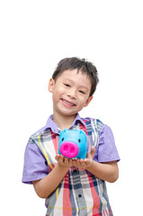 Asain smiling boy with piggy bank isolated on white
