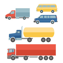 Trucks flat icons set