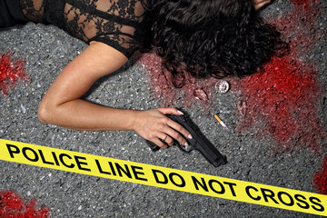 Murder on the street - a woman with a gun in the blood