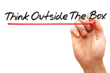 Think Outside The Box with red marker, business concept