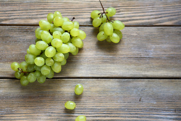 Grapes on wooden boards