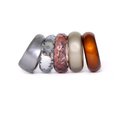 Row of stacked fashion bangles