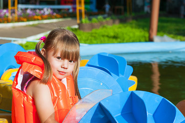 portrait of a girl in a life jacket
