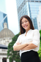 Business woman smiling portrait in Hong Kong