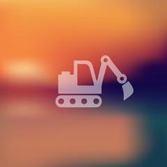 excavator icon on blurred background