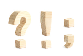 Made of wood punctuation marks isolated