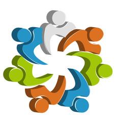 Teamwork unity people logo design icon vector