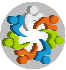 Teamwork unity people logo design template icon vector