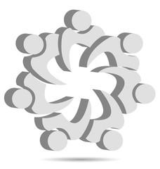 Teamwork unity people logo design vector