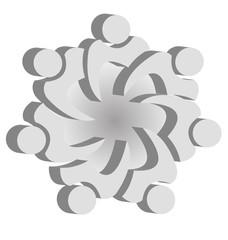 Teamwork union people logo design vector