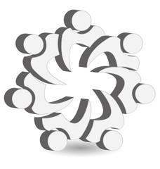 Teamwork union white people logo icon vector