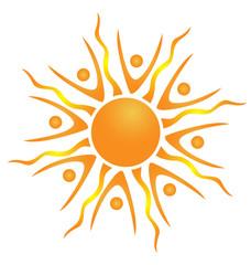 Abstract teamwork sun logo vector