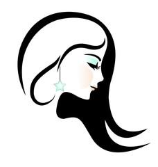Beauty woman portrait logo vector design