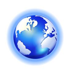 Globe Map shine blue background logo vector