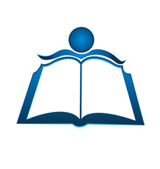 Book and student logo vector