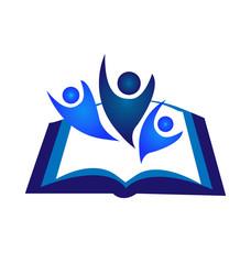 Teamwork book logo vector icon
