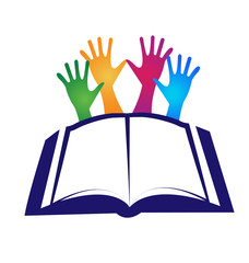 Book and hands logo icon vector