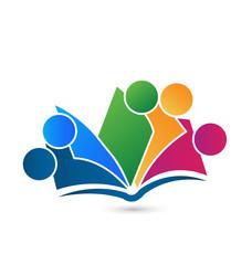 Teamwork book colorful logo vector