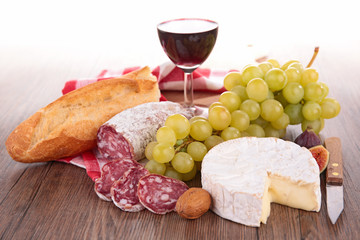 wine,bread,cheese and grape