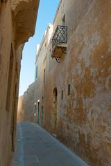Ancient narrow cobblestone street of Mdina, Malta
