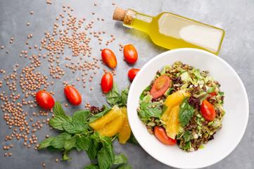 Delicious vegetarian lentil salad