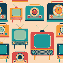 Seamless pattern with colorful retro TVs and radio receivers.