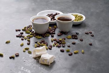 Turkish Coffee with coffee beans and Cardamom