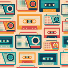 Seamless pattern with retro tape recorders and cassettes.