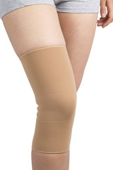 knee bandage on the leg of young woman