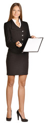 Business woman holding a pen and clipboard.