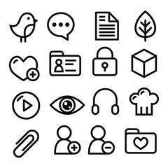 Website menu navigation line icons - social media, blog