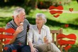 Composite image of senior couple eating an ice cream on a bench