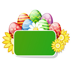 Easter eggs with the green table