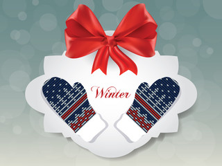 Knitted winter gloves on gift card, vector