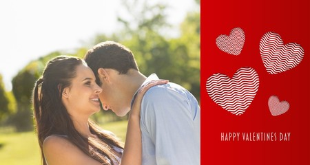 Composite image of loving and happy couple at park