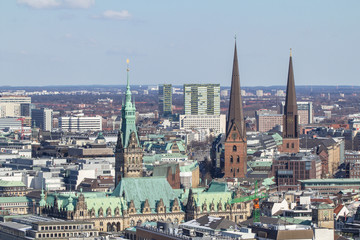 Bird eye view of Hamburg from St. Michel Church