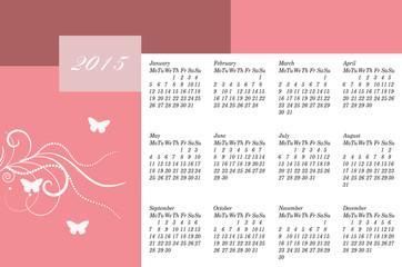 Happy New year 2015 calendar.