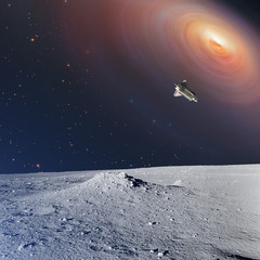 Space shuttle with galaxy and stars as seen from Moon's surface.