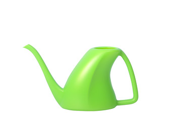 Green Plastic Watering Can Isolated