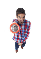 Frightened guy with a flashlight