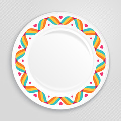 Decorative plate, top view.