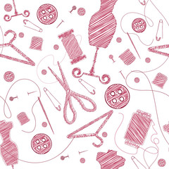 Sewing Supplies seamless scribble pattern